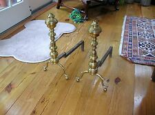 18TH /19TH CENTURY BRASS ANDIRONS SEAMED CONSTRUCTION