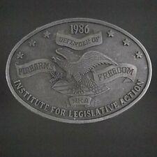 Vintage 1986 NRA Belt Buckle Defender of Firearms Freedom Institute