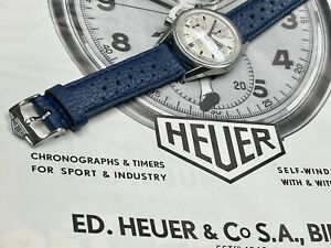Heuer Carrera 2447 Swiss vintage textured 18mm blue band with Heuer buckle