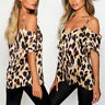 US Summer Womens Ladies Leopard Print Off Shoulder Strappy Blouse T-shirt Tops