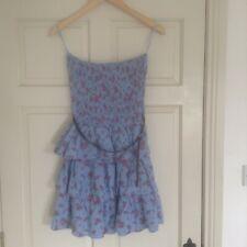 New Ladies Primark Strapless Summer/Beach Dress Layered/Ra Ra Floral Blue Size10
