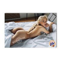 A•864 # Locker Fridge Magnet Sexy Cute Beer Girl on Bed Decor Mini Poster
