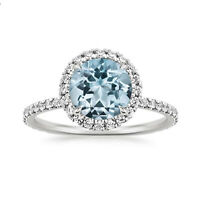 1.80 Ct Round Aquamarine Engagement Ring 14K Solid White Gold Diamond Size N M