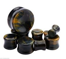 "PAIR-Stone Tiger Eye Blue Double Flare Plugs 22mm/7/8"" Gauge Body Jewelry"