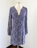 NWT Skies are Blue Stitch Fix Blue Geometric Tunic Lace Up Dress Size XS Aztec
