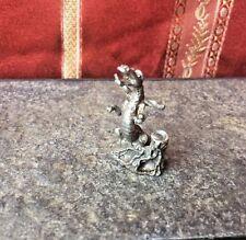 Vintage Pewter Fantasy Dragon Puff Magic Figure Figurine Miniature Full Body