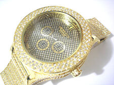 Iced Out Bling Bling Metal Band w Crystals Techno King Men's Watch Gold