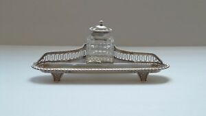 Gorham Sterling Silver Inkstand, Cut Glass Inkwell, Sterling Silver Top