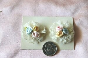 2 Antique Vintage Lace & Silk Ribbonwork Pins~Pink,Yellow & Blue Rosettes~Dolls