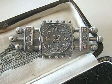 ANTIQUE VICTORIAN JEWELLERY STERLING STERLING & GOLD SWEETHEART BAR BROOCH PIN