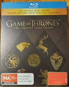 GAME OF THRONES BLU RAY. Season 3, LIMITED EDITION #0086 Never Opened, Brand new