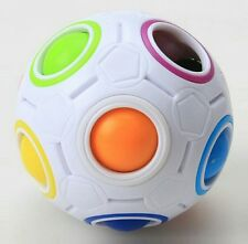 Rainbow and White Spherical Ball Shaped Magic Cube Twist Speed Puzzle Toy Gift