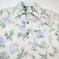 VINTAGE 1970s HANG TEN 10 3 Button Reverse Print HAWAIIAN ALOHA SHIRT Sz Mens M