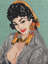 Vintage Hand Embroydery Woman Portrait Tapestry Gobelin