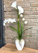 Neu edles Gesteck Orchidee Calla Kunstblumen weiß/gold Tisch-Fenster Deko