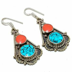 """Tibetan Santa Rosa Turquoise & Coral 925 Sterling Silver Earring 2.1"""" S2633"""