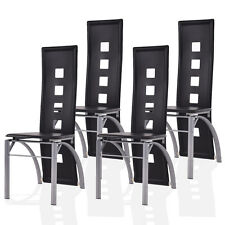 Set Of 4 Dining Chairs PU Leather Steel Frame High Back Home Furniture Black  New