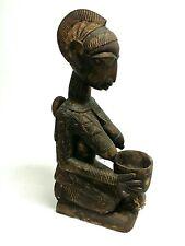 "25"" Yoruba Tribe Nigeria Bowl Bearing Maternity Shrine Figure Statue Carved Wood"