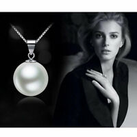 Fashion Women's Elegant White/Black Pearl Pendant Necklace Silver Chain Jewelry