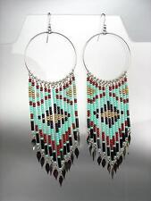 Turquoise Multi Beads Bohemian Boho Gypsy Peruvian Chandelier Dangle Earrings