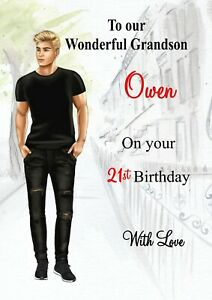 Personalised birthday card son grandson dad nephew brother 18th 21st 30th 16th
