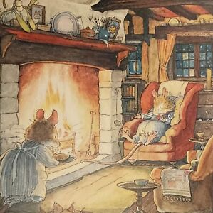 Winter Story Christmas Card - Keeping Warm By The Fire - Brambly Hedge