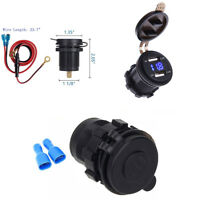 Motorrad Dual USB 4.2A Ladegerät Blau LED Digitalanzeige Voltmeter Wasserdicht