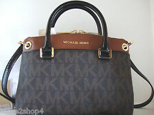 Michael Kors Aubrey Signature Brown/Luggage Small Satchel Cross-body Bag NWT