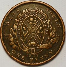 1 Penny / 2 Sous 1837 City Bank Token Canada G329TO
