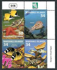 MARSHALL ISLANDS, SCOTT # 782, PLATE BLOCK OF FISH & MARINE LIFE, YEAR 2001