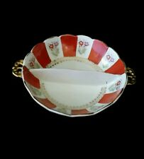 UCAGCO China Made In Occupied Japan SCALLOPED Flower Divided Bowl Dish Gold NICE