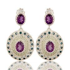 Natural Multi Gemstone 925 Silver Drop Earrings Handmade Wedding Jewelry