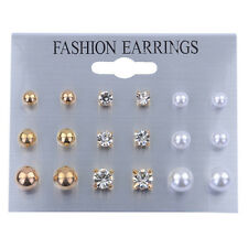 9 Pairs Women's Rhinestone Crystal Earring Chain Ear Stud Earrings Jewelry Gold Color