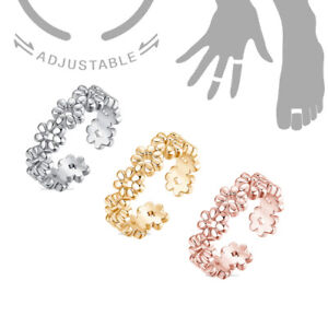 Toe Ring Daisy Flower Adjustable Midi Finger Knuckle Thumb Stacking Ring Band