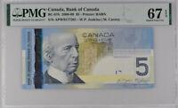 Canada 5 Dollars 2006 / 2008 P 101A/b Superb GEM UNC PMG 67 EPQ