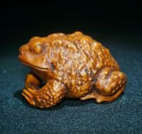 Collect fengshui boxwood hand carved toad frog statue figurines Japanese Netsuke