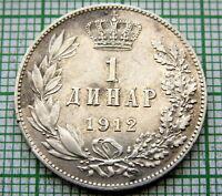 SERBIA PETAR I 1912 1 DINAR, SILVER