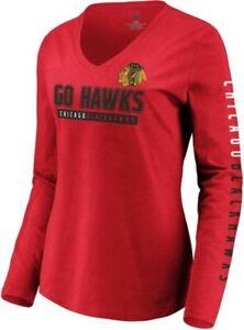 FANATICS NHL WOMENS CHICAGO BLACKHAWKS GO HAWKS LONG SLEEVE V-NECK SHIRT SIZE L
