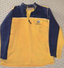 Arizona fleece~embroidered soccer ball Alex~Size large Children~yellow blue~used