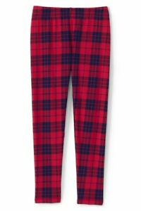 Lands End Girl Holiday Plaid Red Navy Fleece Lined Winter Warm Leggings S 7-8