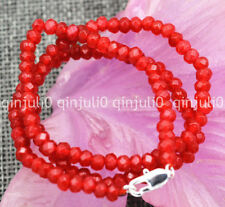"""Handmade Gemstone 2x4mm Faceted Red Ruby necklace 18"""" Silver clasps"""