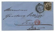 Envelope from Newcastle on Tyne to Italy with Sg 125 - 6d grey plate 12 ( G L )