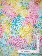 Tropical Leaves Flowers Cotton BATIK Fabric Timeless Treasures Tonga Batik Yard
