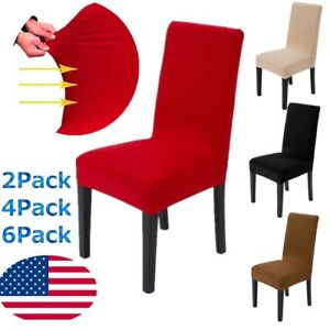 1-6pcs Dining Chair Covers Wedding Party Home Decor Stretch Seat Cover Slipcover