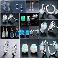 Opal Earrings Stud Dangle Drop Silver Fire 925 Jewelry Wedding CZ Round Earrings