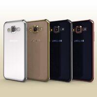 Samsung Galaxy J1 (2015) Hülle Spiegelrand klar Slim Cover Tasche Back Case Etui
