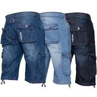 Enzo Mens Designer Cargo Shorts Combat Multipocket Denim Casual Work Half Pants