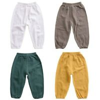 Kids Girls Boys Baby Cotton Loose Harem Pants Bloomers Anti-mosquito Long Pants