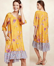ANTHROPOLOGIE NWT Rainforest Silk Dress High-Low Yellow Floral PXS fits PS $188