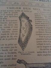 """PATRON ORIGINAL POUR LA POUPEE BLEUETTE """"TABLIER D'UN SEUL MORCEAU OCTOBRE 1908"""